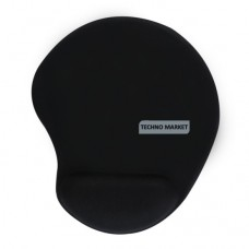 Solid Jersey Gel Mouse Pad With Wrist Rest (Black)